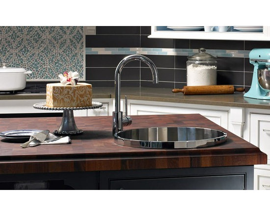 Sapele Mahogany Butcherblock Island Countertop with Sink. Designed by Plain & Fa -