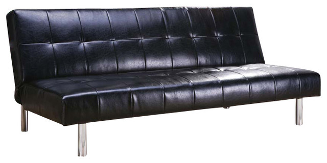 Design black bycast faux pu leather tufted adjustable for Tufted leather sleeper sofa