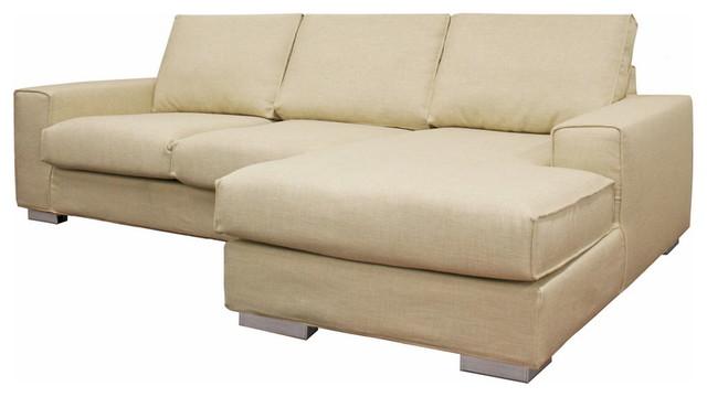 Baxton Studio Campbell Cream Twill Modern Sectional Sofa modern-sectional-sofas
