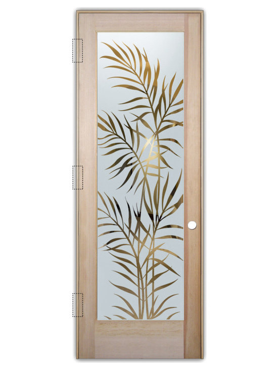 """Sans Soucie Art Glass (door frame material T.M. Cobb) - Interior Glass Door Sans Soucie Art Glass Ferns Negative - Sans Soucie Art Glass Interior Door with Sandblast Etched Glass Design. GET THE PRIVACY YOU NEED WITHOUT BLOCKING LIGHT, thru beautiful works of etched glass art by Sans Soucie!  THIS GLASS IS SEMI-PRIVATE.  (Photo is View from OUTside the room.)  Door material will be unfinished, ready for paint or stain.  Satin Nickel Hinges. Available in other wood species, hinge finishes and sizes!  As book door or prehung, or even glass only!  1/8"""" thick Tempered Safety Glass.  Cleaning is the same as regular clear glass. Use glass cleaner and a soft cloth."""