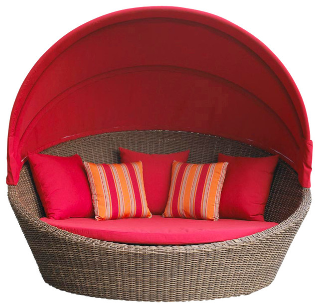 Santa Barbara Wicker Day Bed - Sunbrella Red Cushions contemporary-patio-furniture-and-outdoor-furniture