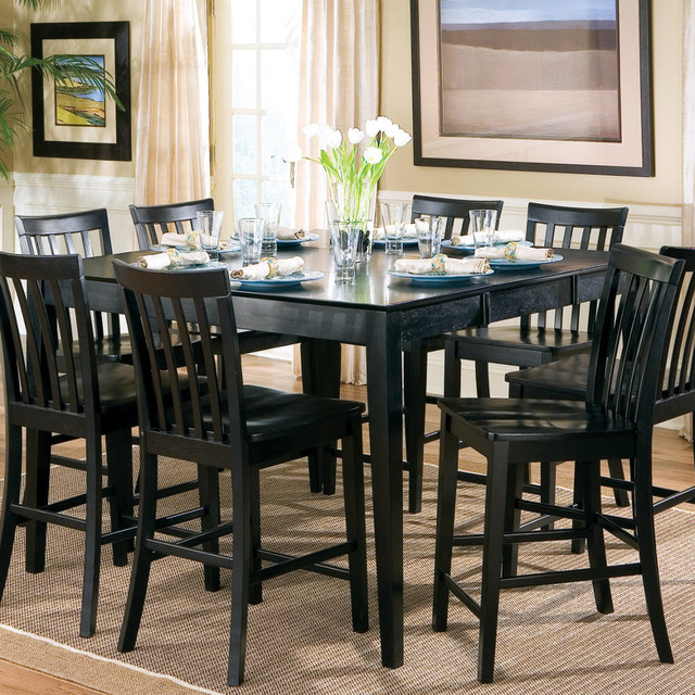 Pines Collection Counter Height Table In Black Transitional Dining Sets