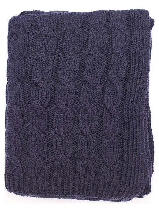 Big Navy Cable Knit Throw - Featuring thick, chunky yarns and an oversized cable-knit weave, the big cable throw helps you beat the cold in style. Feel wonderful bundled up with our cozy big cable throw on the couch with a book on a cozy evening.