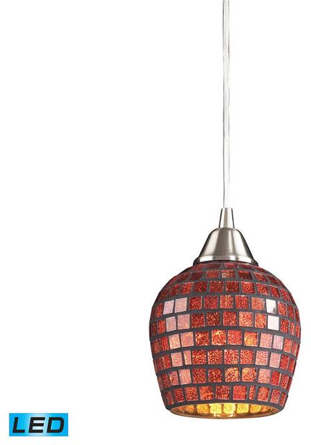 Fusion copper colored glass led pendant light satin - Colored glass pendant lights ...