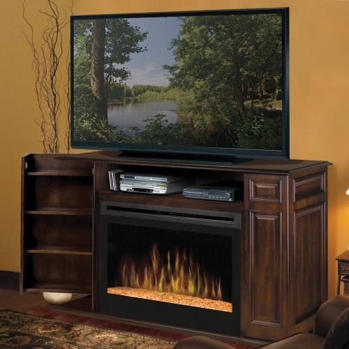 Dimplex atwood walnut entertainment center electric fireplace contemporary media storage - Contemporary electric fireplaces entertainment center ...