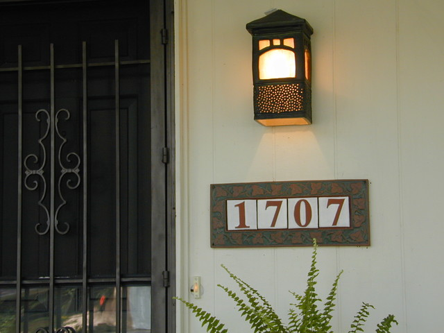 Handmade tile address plaque mediterranean house for Mediterranean house numbers