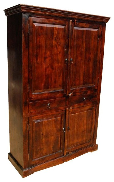 Solid Wood Mahogany Clothes Wardrobe Drawer Armoire ...