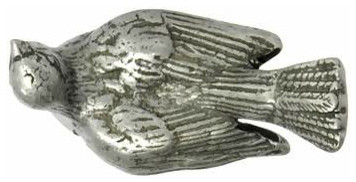 Solid Pewter Dove Bird Knob (Matte Pewter Finish) eclectic-knobs