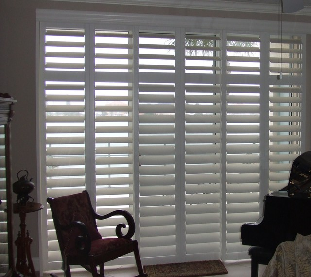 plantation shutters for sliding glass door traditional houston by rockwood shutters. Black Bedroom Furniture Sets. Home Design Ideas