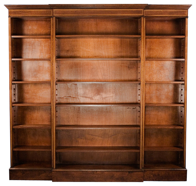 Triple Section Breakfront Open Bookcase bookcases