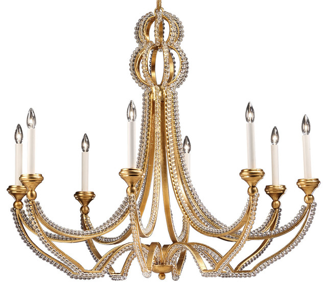 Beaded Wrought Iron Chandelier Traditional Chandeliers