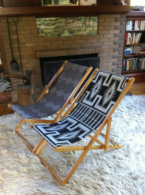 Vintage Reclining Wood Deck Chair by Indian VS Indian eclectic-outdoor-lounge-chairs