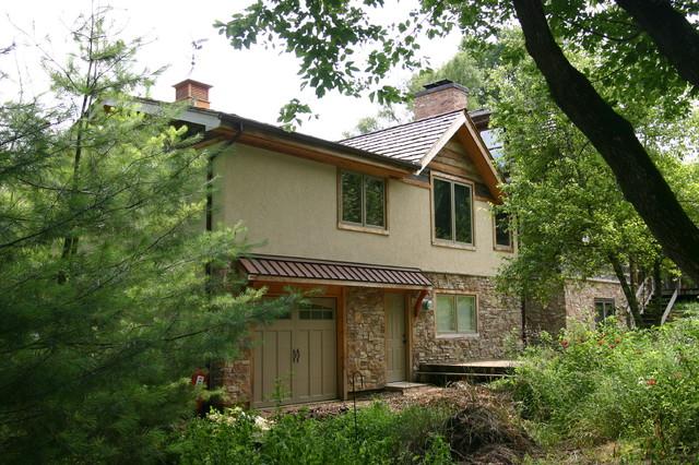 Log home addition & remodel, Barrington Hills traditional