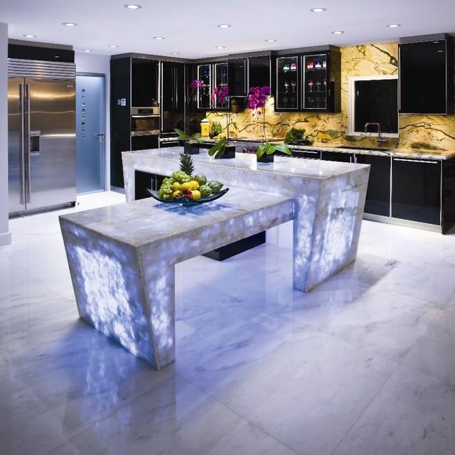 white quartz countertop semi precious modern miami