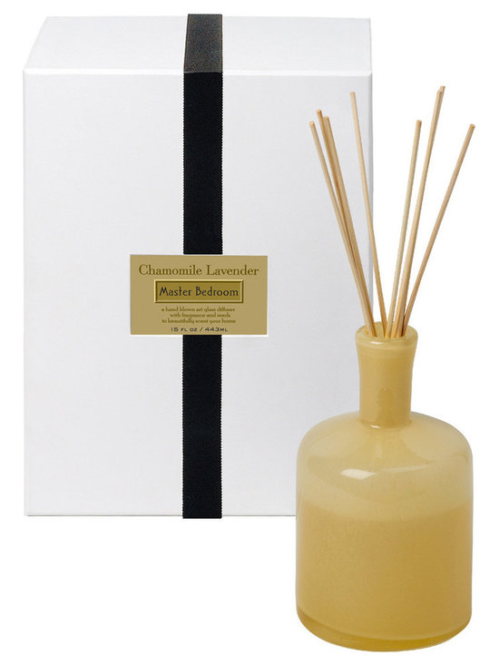 Chamomile Lavender / Bedroom Diffuser - 15 oz. - Herbal depths within a warm embrace of soothing scents make the Chamomile Lavender Diffuser perfect for a secluded bedroom, as classic aromatherapy scents encourage you to relax and enjoy the simple comforts you've collected. Lavender buds and chamomile flowers supply a rich, full-bodied scent that eases your troubles when you place this low-key yellow bottle nearby.