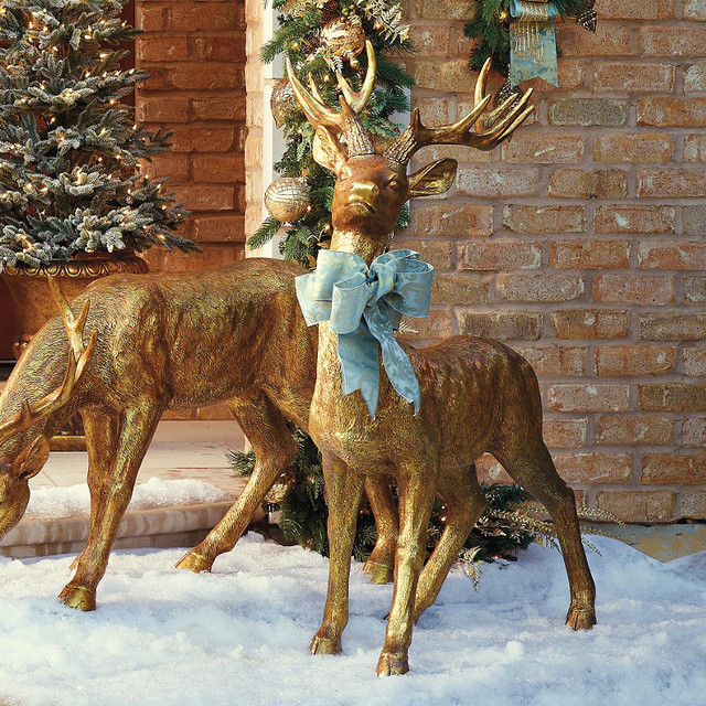Standing gold stag frontgate outdoor christmas Traditional outdoor christmas decorations