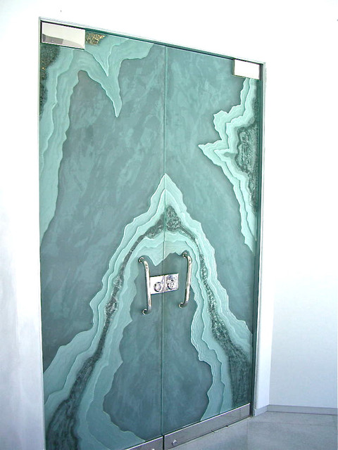 Ice Flow Glass Doors -  Etched & Carved Glass Doors by Sans Soucie modern front doors