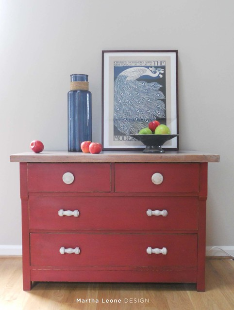Red and white washed chest of drawers eclectic for Eclectic furniture style