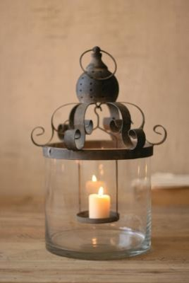 Glass Hurricane with Metal Scroll Top mediterranean candles and candle holders