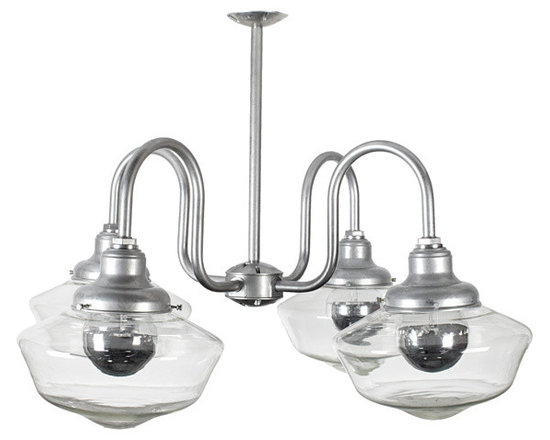Senior 4-Light Schoolhouse Chandelier - We're serving up the charm with our iconic schoolhouse light fixtures. Hand-crafted glass globes are fitted on our unique ceiling mounts to give your home a touch of schoolhouse nostalgia.