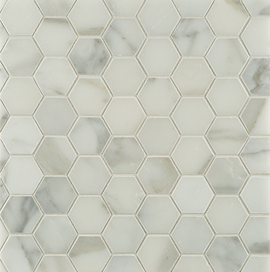 Calacatta Borghini Hexagon Mosaic Tile traditional bathroom tile