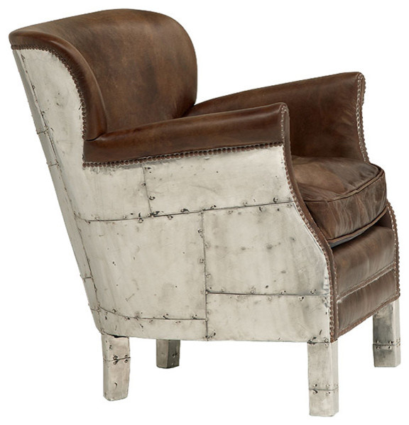 Asher British Industrial Loft Stud Accent Arm Chair