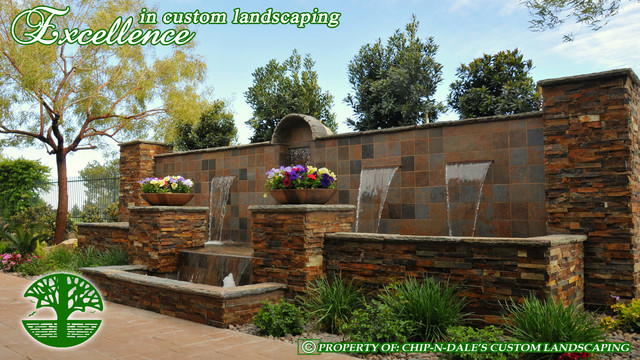 CUSTOM FOUNTAIN BY CHIP-N-DALE'S CUSTOM LANDSCAPING mediterranean-landscape