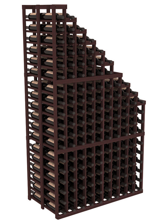 Double Deep Wine Cellar Waterfall Display Kit in Redwood with Walnut Stain - The same beautiful cascading waterfall but in a double deep capacity. Displays 18 choice vintages in a tiered fashion. Designed within our modular specifications and to Wine Racks America's superior product standards, you'll be satisfied. We guarantee it.