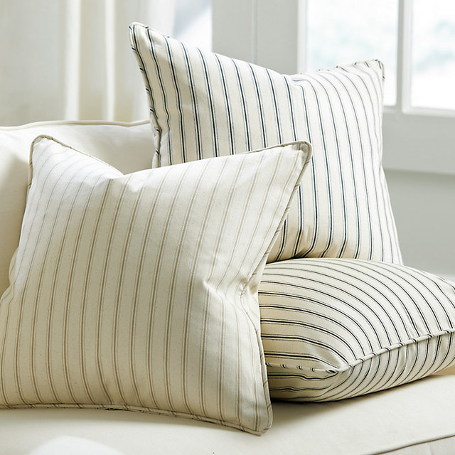 Vintage Ticking Stripe Pillow Cover - Farmhouse - Decorative Pillows - by Ballard Designs