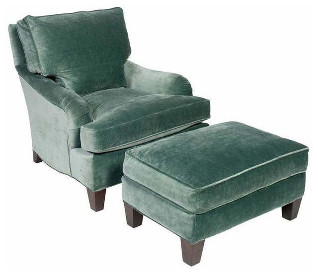 SOLD OUT Teal Velvet English Club Chair and Ottoman  : contemporary armchairs from www.houzz.com size 640 x 554 jpeg 57kB
