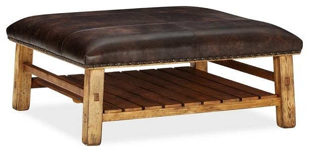 Caden Leather Square Ottoman Rustic Footstools And Ottomans .