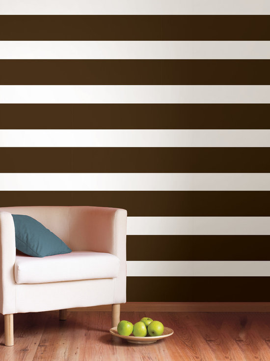 """Hot Chocolate Stripes Set of Wall Decals - Super trendy, earthy and best of all, delicious! This pack comes with four 6.5"""" wide Hot Chocolate brown stripes, a total of 64' long. All WallPops are repositionable and always removable."""