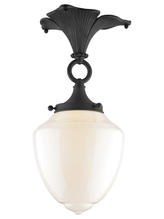 Rejuvenation: Exterior Outdoor Lighting - The Wildwood Semi-Flush Mount fixture adds a lovely Arts & Crafts touch to any room by gracing the ceiling with a trefoil canopy cast from a hand-carved mold.