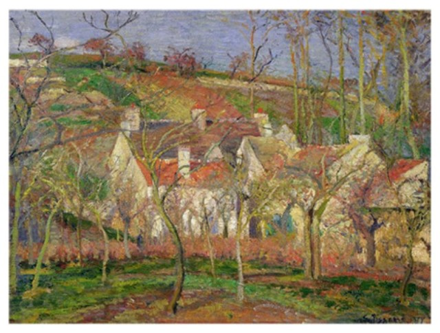 The Red Roofs or Corner of a Village Winter 1877 Canvas Art - BL0237-C1824GG contemporary-artwork