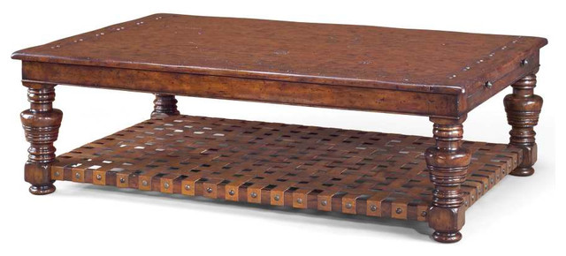 Classic Brown Leather Coffee Table Traditional Coffee Tables By Mortise Tenon Custom