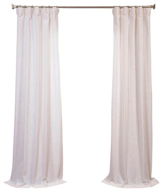 White Heavy Faux Linen Curtain Contemporary Curtains