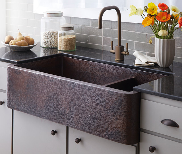 Old Farmhouse Kitchen Sinks: Farmhouse Duet Pro Copper Kitchen Sink In Antique