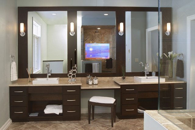 Espresso and Chrome contemporary bathroom