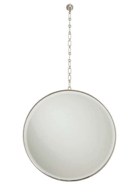 Arteriors Fletcher Mirror- Polished Nickel - This round antique brass finished mirror is suspended by a chain featuring round and oval alternating links. Wall mount hook assembly.