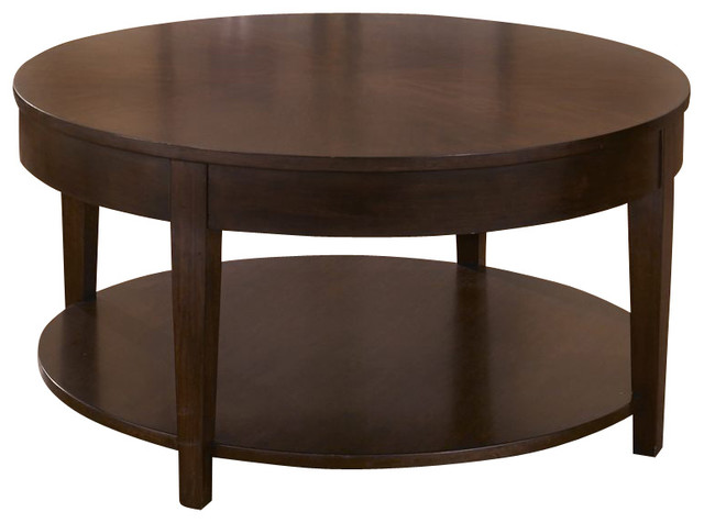 Liberty Furniture Sonata 36 Inch Round Cocktail Table In Cherry Dark Wood Traditional