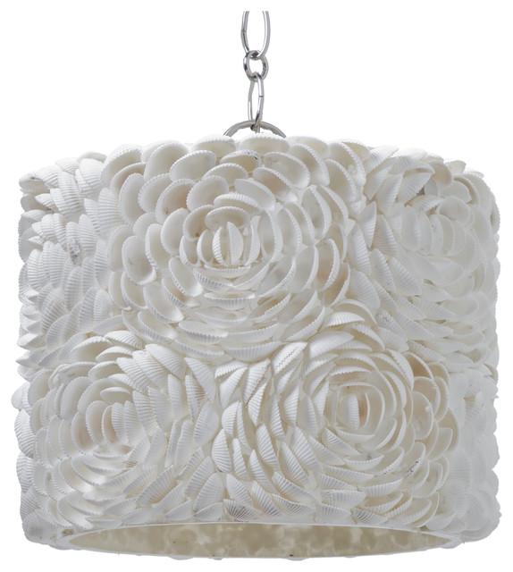 hallandale coastal beach seashell petal glass drum pendant