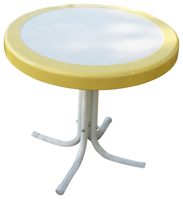 Metal Retro Round Table in Yellow and White - Contemporary - Outdoor Dining Tables - by ShopLadder