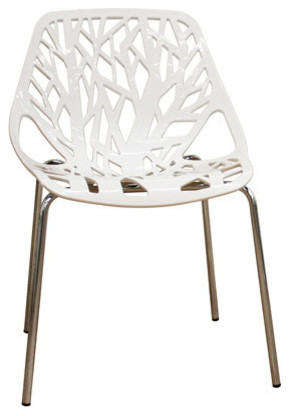 Forest White Plastic Modern Dining Chair Contemporary