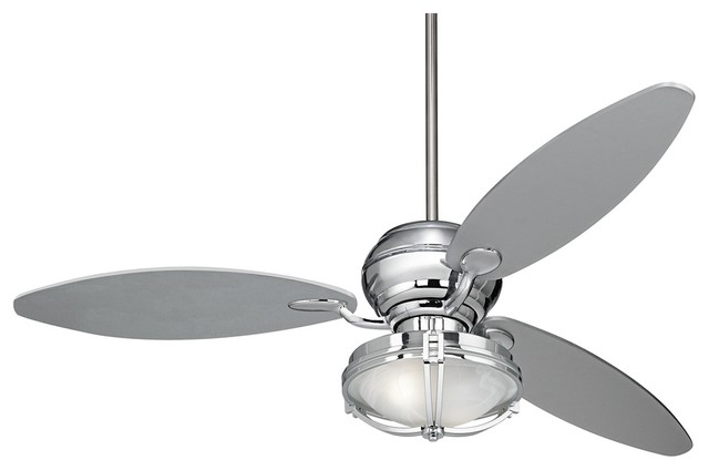 Contemporary 66 Quot Spyder Chrome Ceiling Fan And White Glass