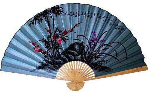 Soft blue poem asian wall fan asian home decor by oriental decor