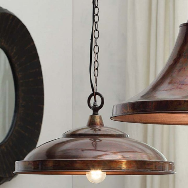 Copper Finish Domed Pendant Lamp