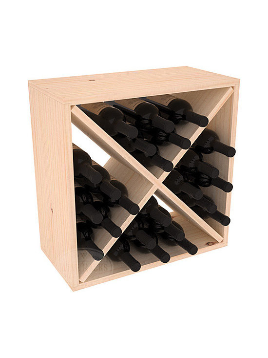 """Wine Racks America - 24 Bottle Wine Storage Cube in Ponderosa Pine, (Unstained) - A wine rack focused on flexibility; buy 1 or buy 100. Perfect for stacking, filling small spaces, and converting that """"underneath"""" space into wine storage. Mix and match finishes to illustrate your true wine-lover's spirit or contrast colors for a modern wine rack twist."""