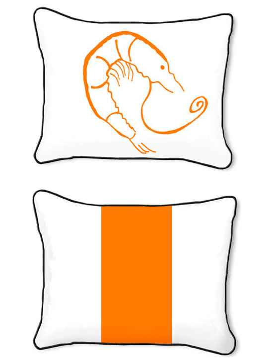 Casart Coverings - Shrimp Creole Pillow Slipcover, Tangerine/Black, Rectangular - 14 in X 18 in - Reversible, all-weather, washable pillow slipcover