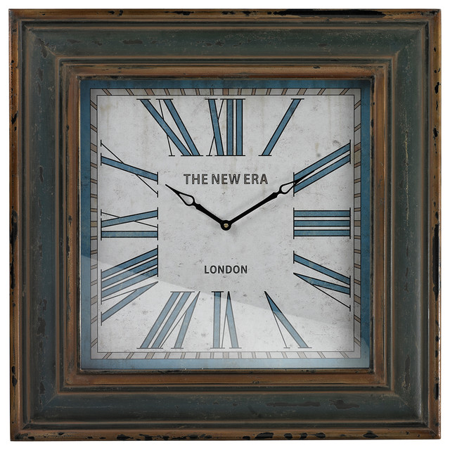 Blue Large Square Clock With Distressed Handpainted Frame