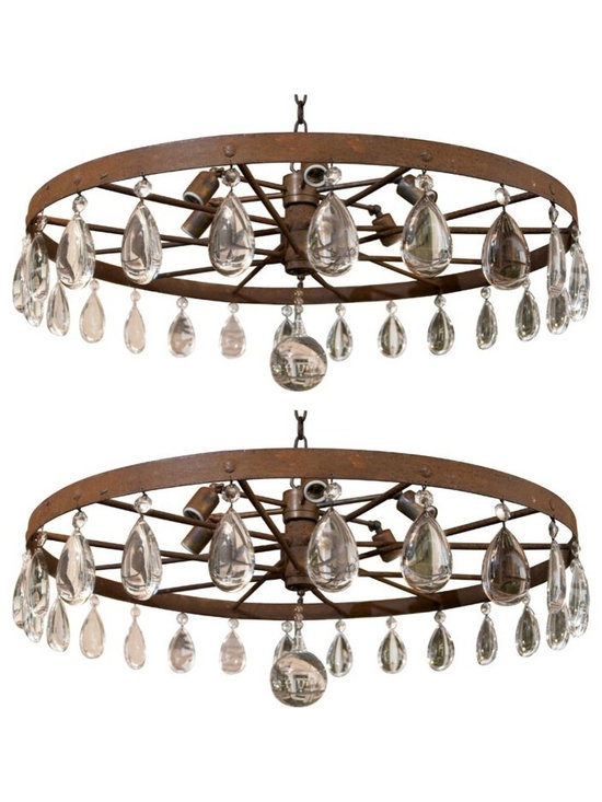"""Eco Friendly Furnture and Lighting - USA 1920's 1920's Rusted Farm Equipment Vintage Wagon Wheel as a chandelier with huge tear drop crystal decorations and huge giant crystal ball. 6 light sockets and comes with 36"""" chain and canopy to match."""